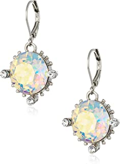 product image for 1928 Jewelry Silver-Tone Made with Clear AB Swarovski Crystal Drop Earrings