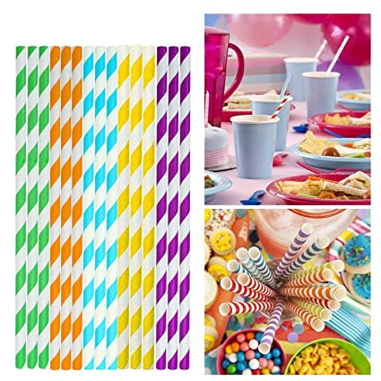 Party Paper Straws Grinch Party Decorations 200 Pack 5 Different Colors Rainbow Stripe Biodegradable Paper Drinking Straws Bulk Paper Straws For