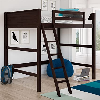 Amazon Com Dorel Living Denver Loft Bed Full Espresso Kitchen Dining