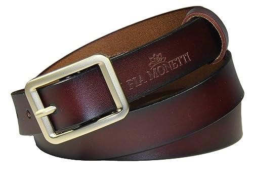 FIA MONETTI Cinturón de cuero para mujer, con moderna hebilla, ancho 2,3 cm
