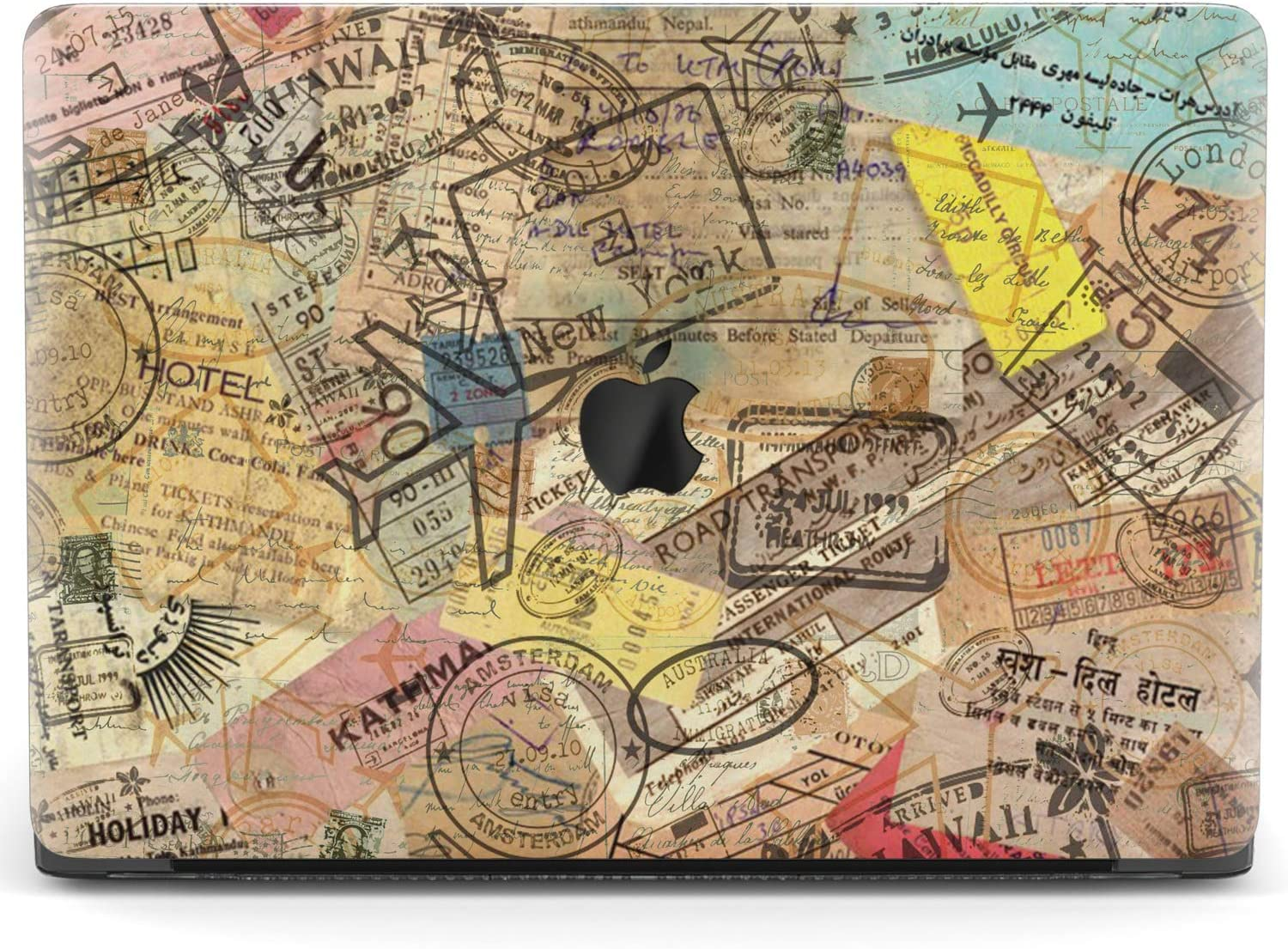 Mertak Hard Case for Apple MacBook Pro 16 Air 13 inch Mac 15 Retina 12 11 2020 2019 2018 2017 Passport Pattern Touch Bar Laptop Cover Protective Clear Plastic Adventure Vintage Travel Stamps Design