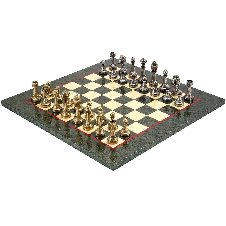 The Regency Chess Company Finnesburg Latón Juego De Ajedrez con en 17. Oliva Erable De lujo Tablero