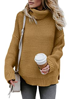Asvivid Womens Winter Long Sleeve Turtle Neck Chunky Knitted