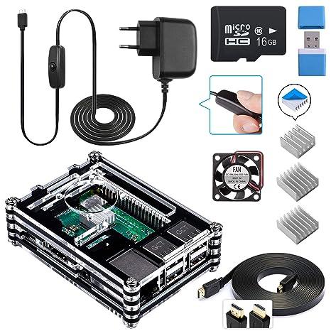 Para Caja Raspberry Pi 3 b+, Smraza Kit para Raspberry Pi 3 b+ con Cargador, Ventilador, 3x Disipadores y Tarjeta SD para Raspberry Pi 3 2 Modelo b+ ...