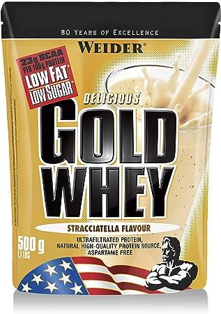 Weider Gold Whey Sabor Stracciatella - 500 gr. Concentrado de Proteina de Suero de la más alta calidad. Fácil absorción y digestión. Baja en grasas y ...