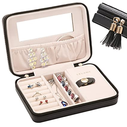 Lelady Jewlry Jewellery Box Small Travel Jewellery Box Case Portable Faux Leather Jewellery Storage Boxes Built In Mirror For Women Girls Black