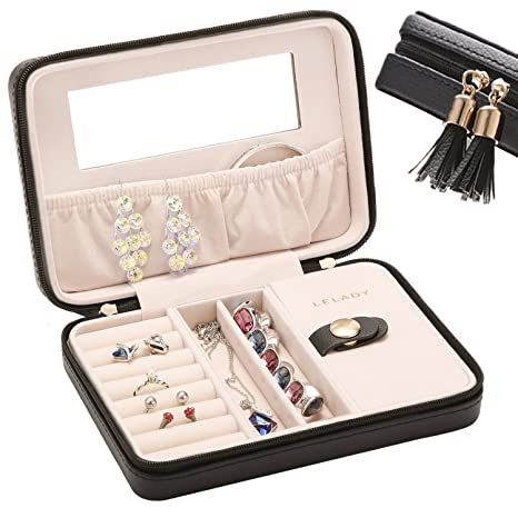 Amazoncom JL LELADY Small Jewelry Box Portable Travel Jewelry Case