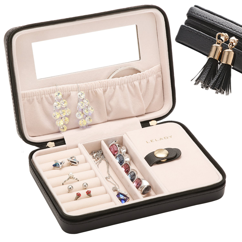 JL LELADY JEWELRY Small Jewelry Box Organizer Travel Jewelry Case Portable Faux Leather Jewelry Organizer Boxes Storage Case with Mirror for Women Girls (Black)