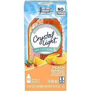 Crystal Light Peach Mango Drink Mix With Caffeine, 0.07 Oz, Pack of 6