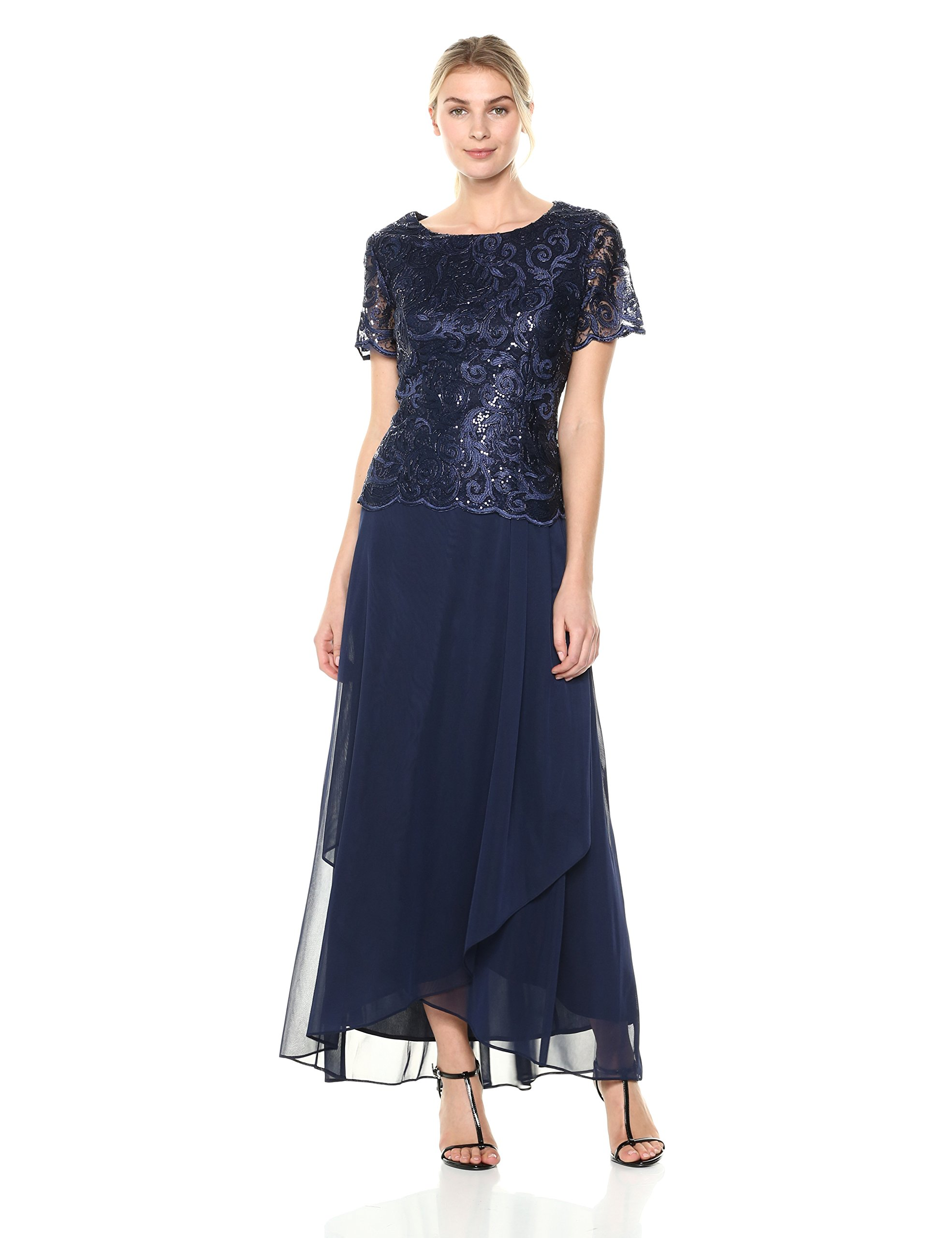 Alex Evenings Women's Embroidered Mock Dress With Wrap Skirt, Navy, 12