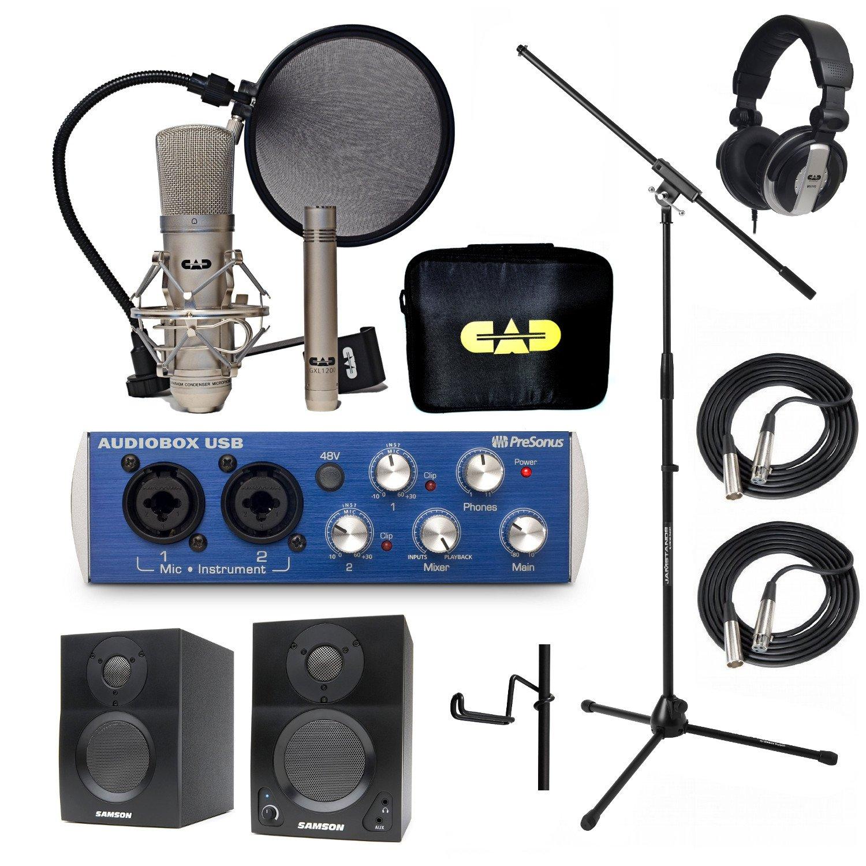 Home Recording Studio Bundle CAD GXL2200SP MH110 Stand PreSonus AudioBox USB Samson Media ONE BT3 Speakers