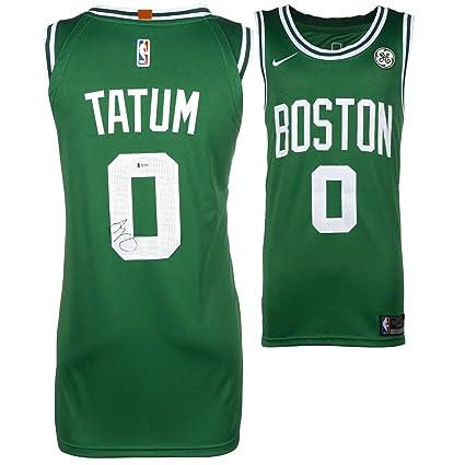buy popular e52b9 1c4b6 Jayson Tatum Boston Celtics Autographed Green Nike Jersey ...
