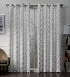 Exclusive Home Curtains Amelia Embroidered Woven Blackout Grommet Top Curtain Panel Pair, 52x84, Winter