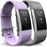 Yousave Accessories Fitbit Charge 2 Strap Multipack - Replacement Silicone Sport Watch Bands for the Fitbit Charge 2 - Two Pack - Lilac/Grey