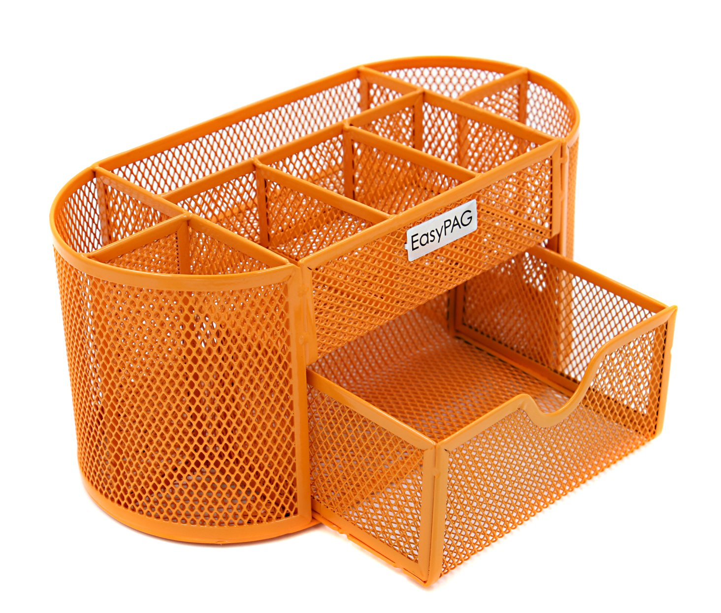 EasyPAG Desk Organizer 9 Components Mesh Office Desktop Office Supplies Set with Drawer,Orange