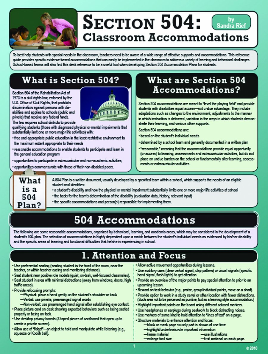 Section 504: Classroom Accommodations Pamphlet