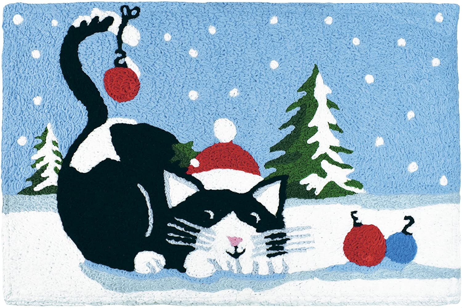 Jellybean Black and White Cat Playing with Christmas Tree Balls holiday Accent Rug Home Comfort inc