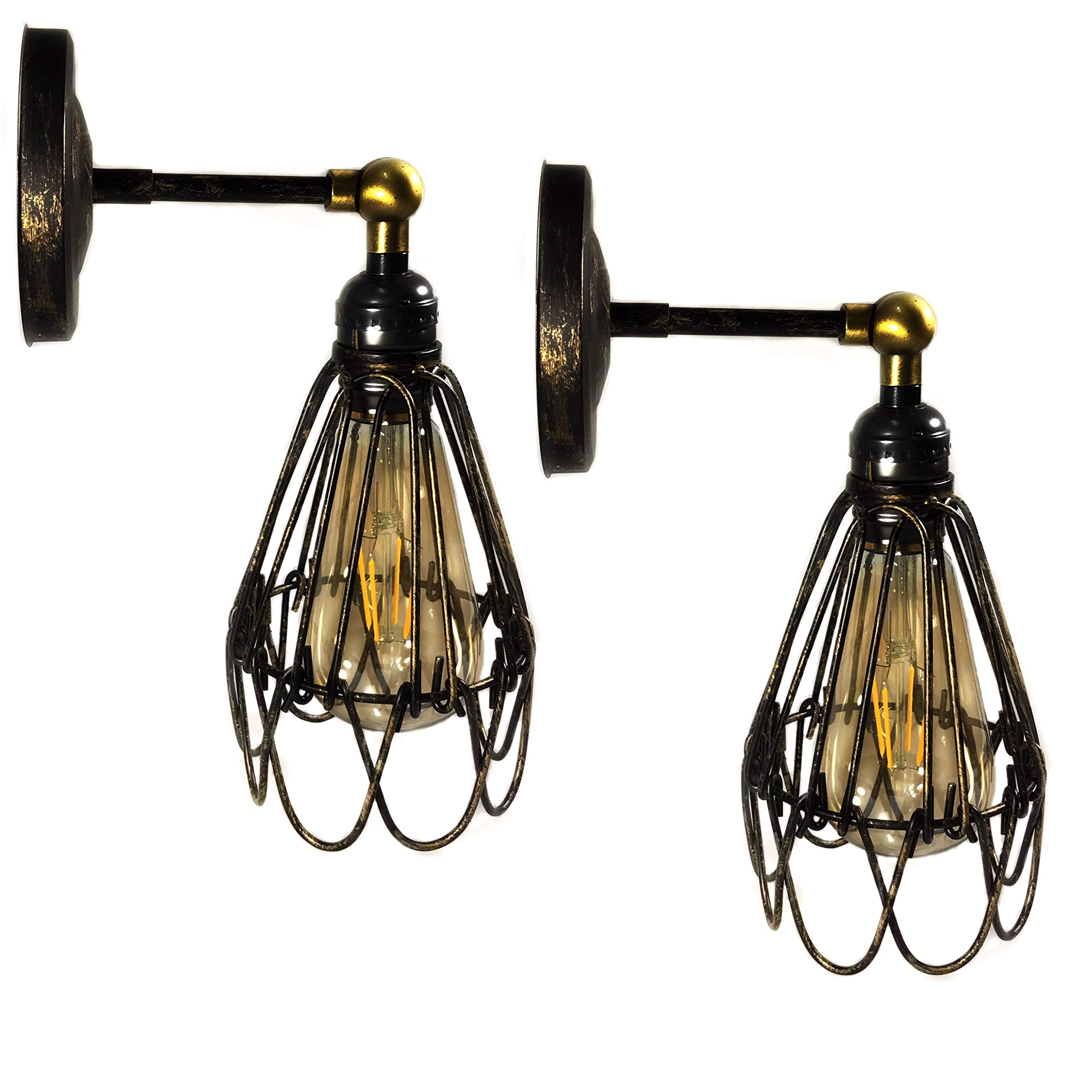 Retro Wall Sconce Vintage Wall Lamps, Adjustable Industrial Rustic Wire Cage Wall Light Antique Style Indoor Lighting Fixture (2 PACK)