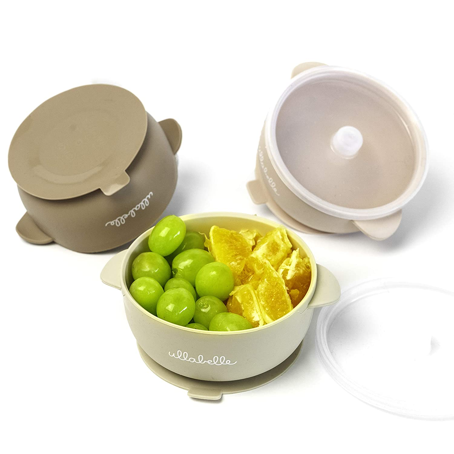 Ullabelle Silicone Baby Bowls with Lids   Toddler Food Storage Bowls   100% Food Grade Silicone   BPA Free and Nontoxic Material   Independent Feeding (Beige, 3 Bowls)