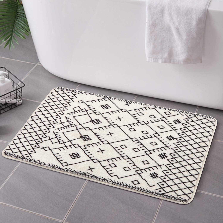 Uphome Moroccan Bathroom Rugs Modern Geometric Velvet Bath Mat 9x9 inch  Boho Tribal Non-Slip Bath Rug Soft Microfiber Machine-Washable Floor Rugs