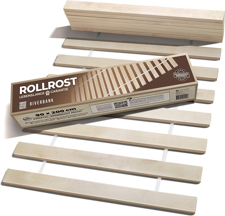 Riverbank Somier de láminas de madera de abedul de alta calidad con 14 láminas extra fuertes y alta capacidad de carga, somier de 90 x 200 cm de ...