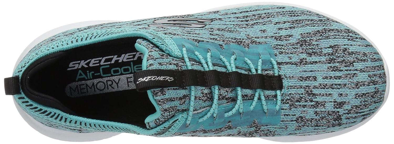 Skechers Damen Ultra Flex-Bright Horizon Trainings-Sneaker zum Hineinschlüpfen mit Turquise Bungee-Schnürung und eingewebtem Muster Turquise mit schwarz 18bdb0