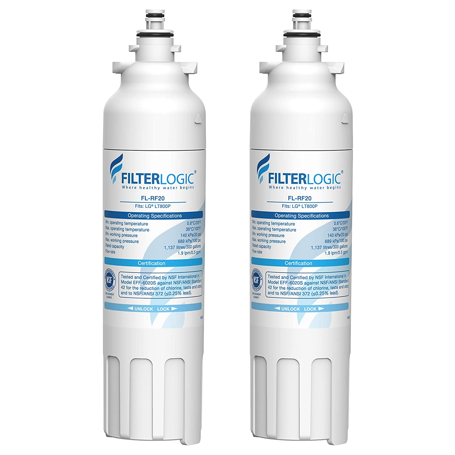 FilterLogic ADQ73613401 Refrigerator Water Filter, Replacement for LG LT800P, Kenmore 9490, LSXS26326S, LMXC23746S, WF-LT800P, 469490, LMXC23746D, ADQ73613402, 46-9490, LSXS26366S (Pack of 2)