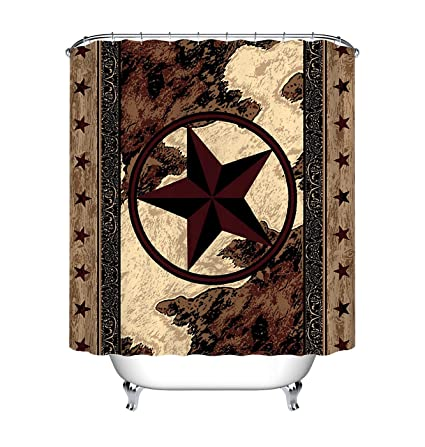 LB Western Texas Star Shower Curtain Vintage Style Stars On Wood Panel Print Rustic Curtains