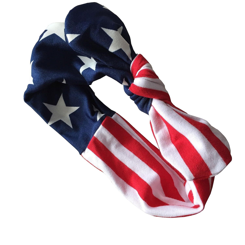 Askwind July 4th Baby Flag Pattern Tassel Balls Summer Romper Headband