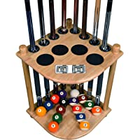 Cue Rack Only - 8 Pool Billiard Stick & Ball Floor Stand with Scorer Choose Mahogany, Black or Oak Finish