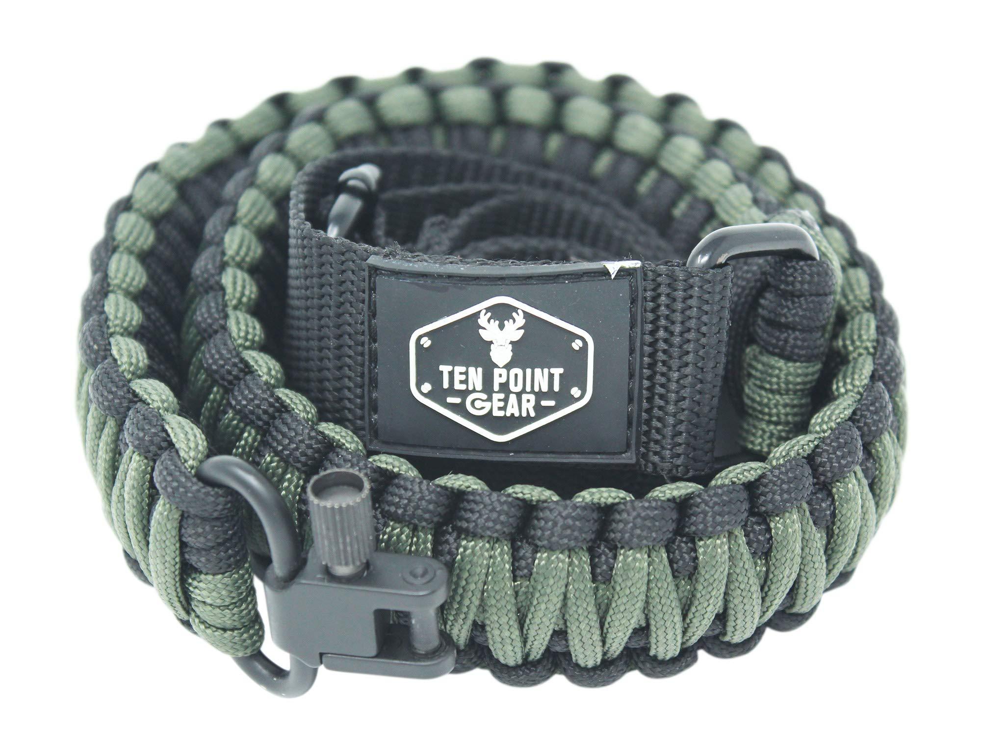 Ten Point Gear Gun Sling Paracord 550 Adjustable w/Swivels (Multiple Color Options) (Black & OD - Olive Drab Green) by Ten Point Gear