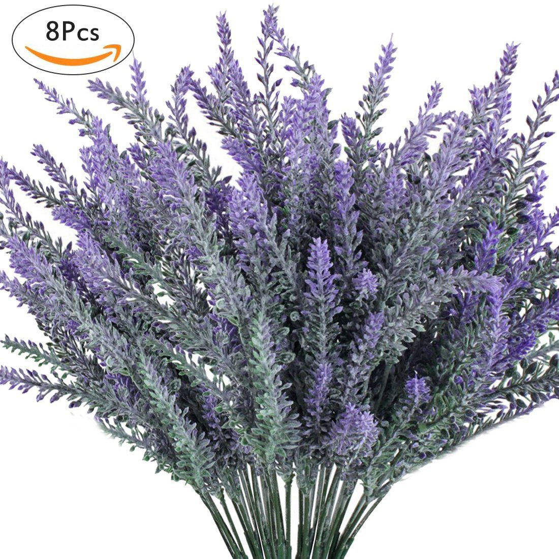 Luyue 8PCS Artificial Lavender Flowers Bouquet Fake Lavender Plant Bundle for Wedding Home Decor Garden Patio Decoration