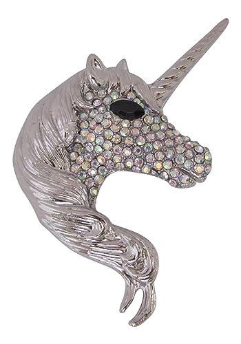 Brooch Boutique Silver Plated AB Crystal Unicorn Brooch Pendant 8Y6l5Dm