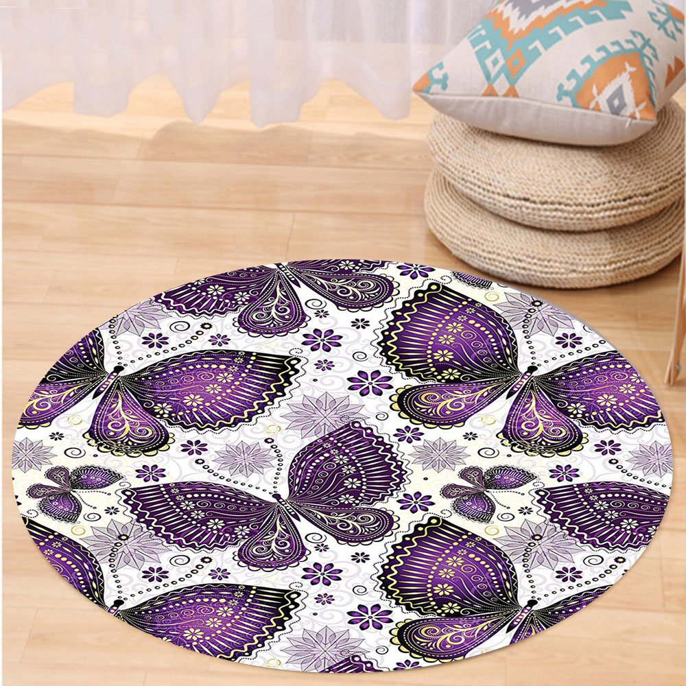 VROSELV Custom carpetNatural Ethnic India Asian Butterflies with Paisley Motif on Wings Flowers Art for Bedroom Living Room Dorm Plum Purple Lilac White Round 72 inches