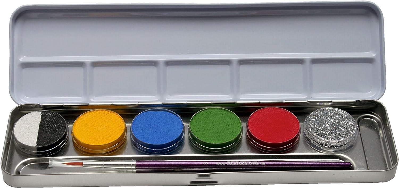 Eulenspiegel 206201 - Palette di trucchi con 6 colori e 1 pennello
