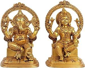 Exotic India Lakshmi Ganesh Home Décor Ganesha Brass Statue Multi Color