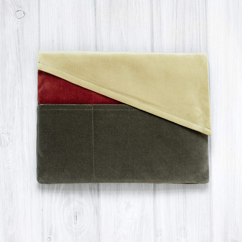 étui/housse/sleeve/pochette pour tablette iPad Pro Air 9.7 11 10,5 12.9 tissu velours super design, Couvercle triangulaire, Trois couleurs, Rouge et Vert