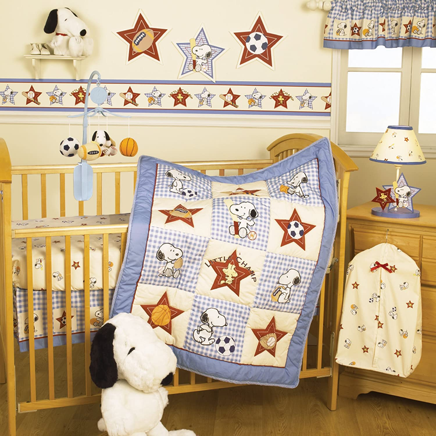 amazing Baby Boy Crib Bedding Sports Theme Part - 8: Amazon.com : Bedtime Originals Champ Snoopy 3 Piece Crib Bedding Set  (Discontinued by Manufacturer) : Baby
