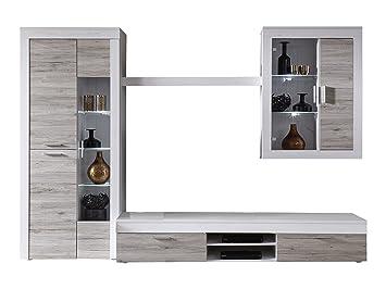 Wohnwand holz weiß  Trendteam Wohnwand, Holz, Braun, 305 x 209 x 50 cm: Amazon.de: Küche ...