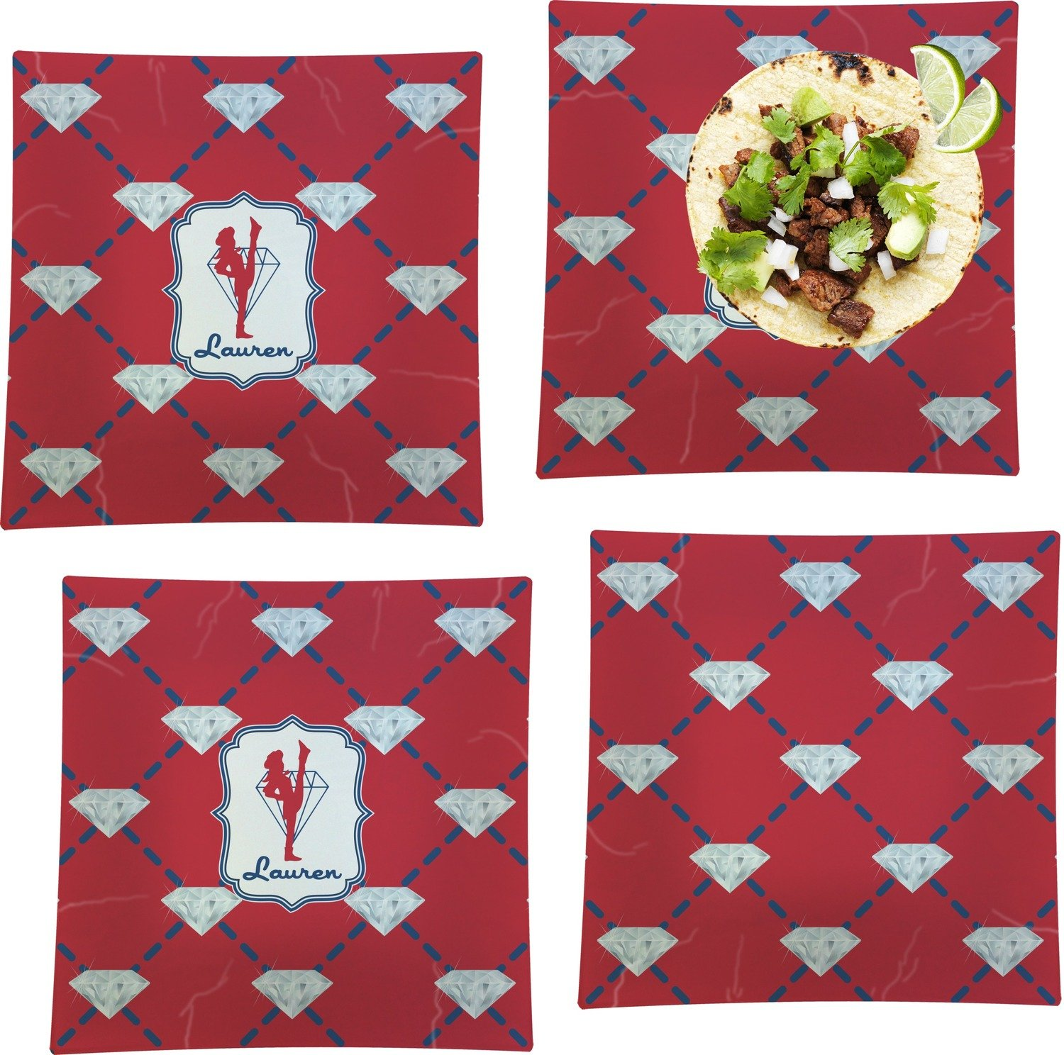 Red Diamond Dancers Set of 4 - Square Dinner Plates (Personalized)