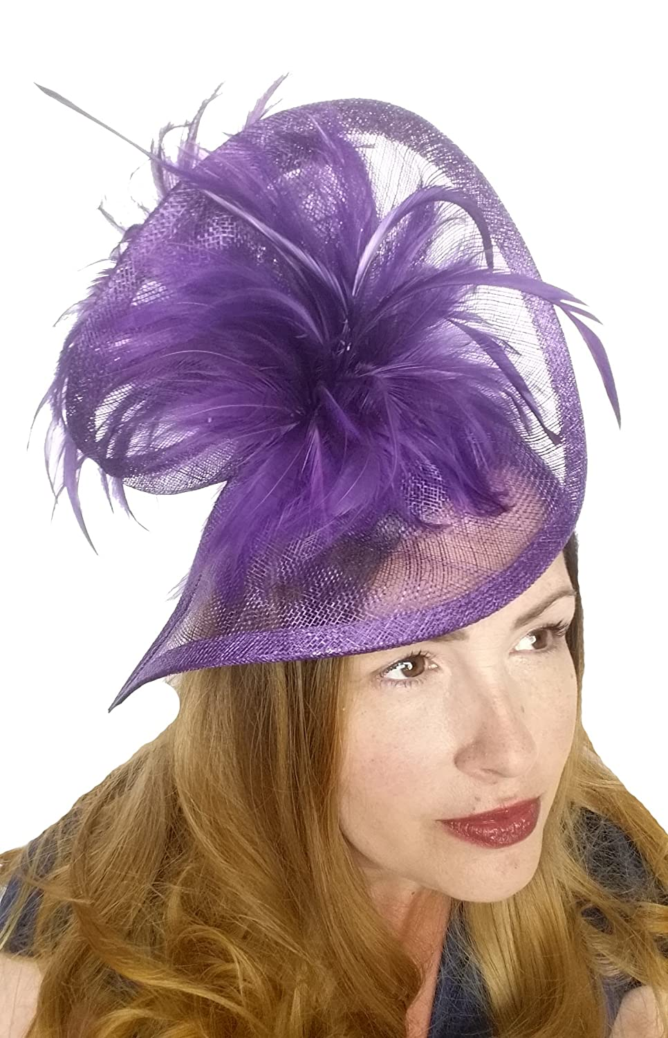 8c02014936e8f Chapter 78 Boutique Purple Sinamay   Feathers Twist Hat Fascinator - Occasion  Wedding Races  Amazon.co.uk  Clothing