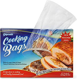 Affordable Plastic Food Bags – 50Pcs Disposable Cooking Bags Ideal for Reheating, Defrosting, Cooking – Heat Resistant Food-Grade HDPE Material – Ideal for 2 Servings – Healthy and Easy Cooking