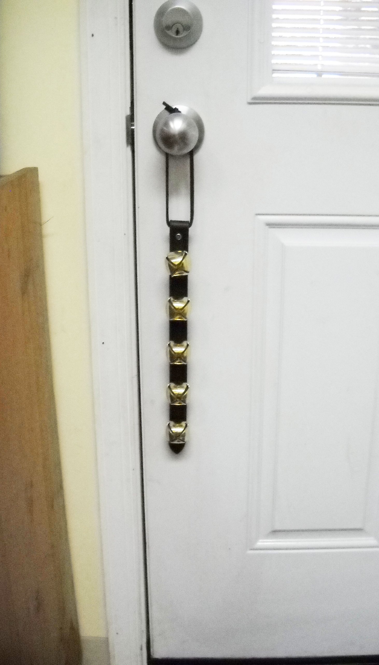 "Warner Arctic Sleigh Bells Leather Strap Decorative Door Bell Hanger 15"" With 5 Brass Plated Jingle"