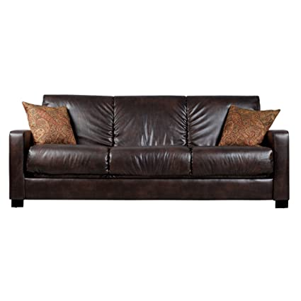 Metro Shop Portfolio Trace Convert-a-Couch Brown Renu Leather Futon Sofa  Sleeper