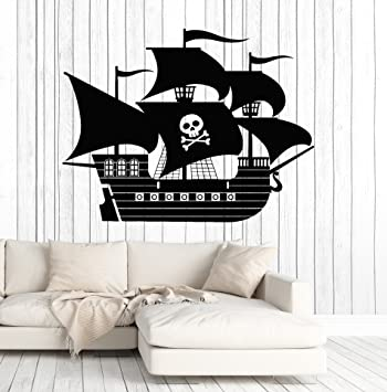 vinyl wall decal pirate ship kids room interior decoration stickers large decor ig4723 silver - Metallic Kids Room Interior