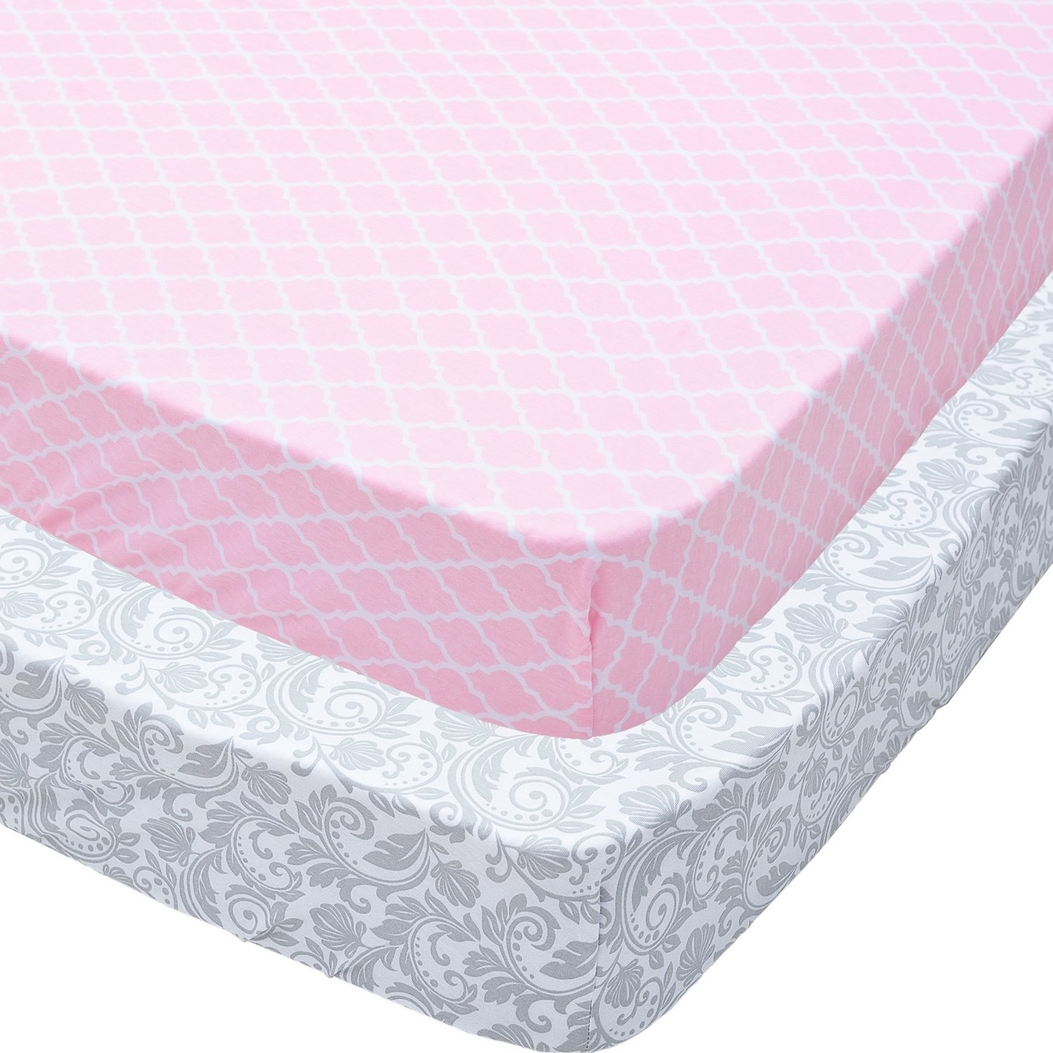 Playard Sheets, 2 Pack Pink Quatrefoil & Gray Floral Fitted Soft Jersey Cotton