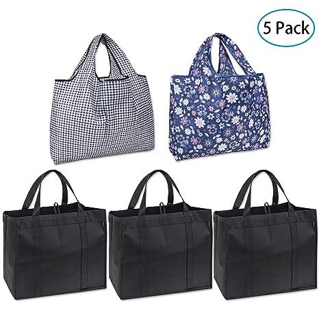 Amazon.com: RONAVO - Juego de bolsas de compra reutilizables ...