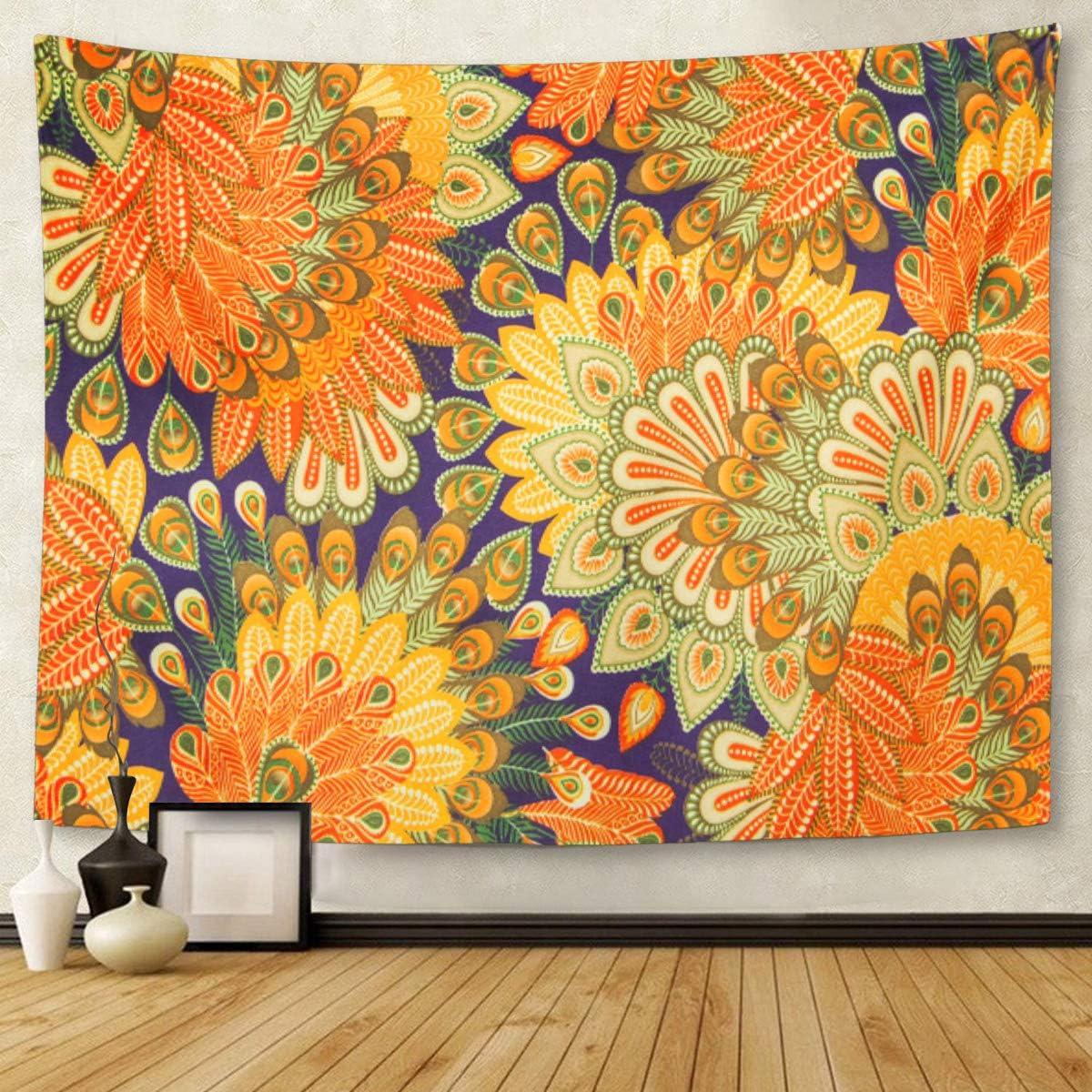 Amazon Com Emvency Tapestry Artwork Wall Hanging Orange 1970s