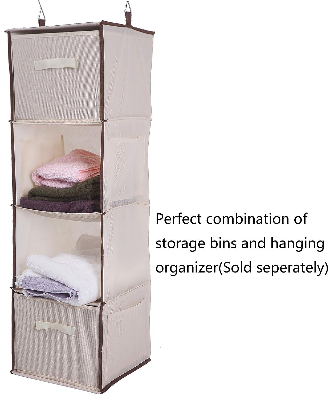 019b87c0161a Amborido Storage Cubes Foldable Drawers Fabric Bins 2 Pack Beige