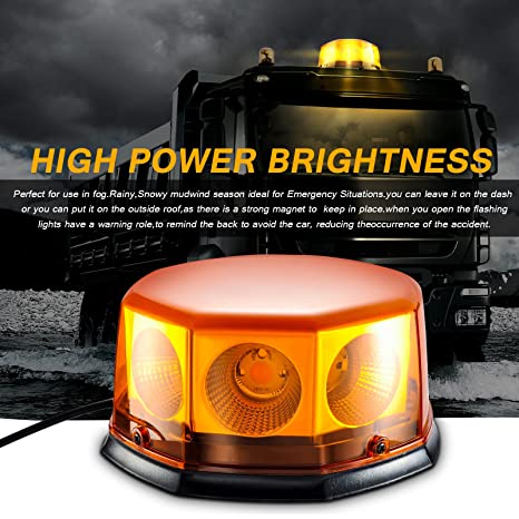 Led Strobe Light,Emergency Beacon Amber Light 40 Watt 10 Modes Powerful  Magnet Warning Flashing Bright Waterproof Emergency Vehicle Lights with  Dust
